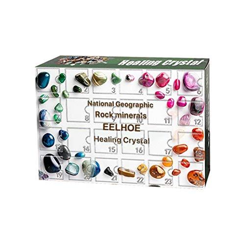 Edelsteine Set Kinder Mineralien Adventskalender Natural Gemstones Steinset Erz Sammlung Geschenkbox Baby Bildungsgeschenke für Mädchen und Jungen Jugendliche