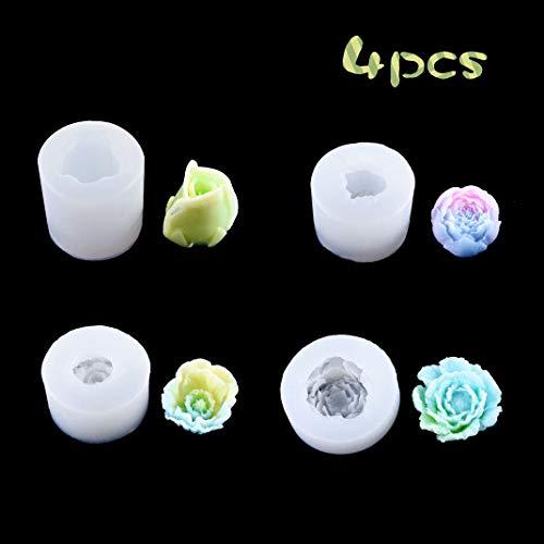 iSuperb 4 pcs Silicone Moules en Résine Cristal Époxy Moule 3D Fleur Rose Resin Mold pour La Fabrication de Bijoux Pendentifs Bricolage (Peony Mold)