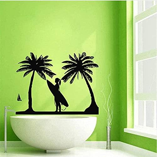 Arte de la pared Deportes Surf Vinilo Etiqueta de la pared Tabla de Surf Palm Super Girl Art Vinilo Calcomanía Dormitorio Sala de estar Decoración extraíble 56X75cm
