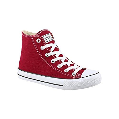 Elara Unisex Kult Sneaker Bequeme Sportschuhe fur Damen und Herren High Top Textil SchuheChunkyrayan Farbe :-Wine( Bordorot), Gr:-38 EU
