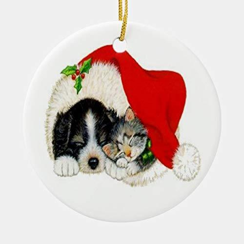 McC538arthy Christmas Santa Hat Ornaments, Vintage Pet Ceramic Ornament Hanging Ornament Xmas Tree Decor Gifts 3''