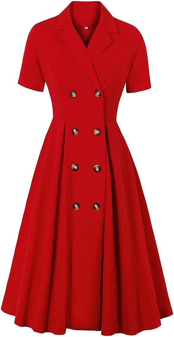 KUFEIUP Women's Vintage Lapel Collar Dress Buttons Down OL Business Work Dress