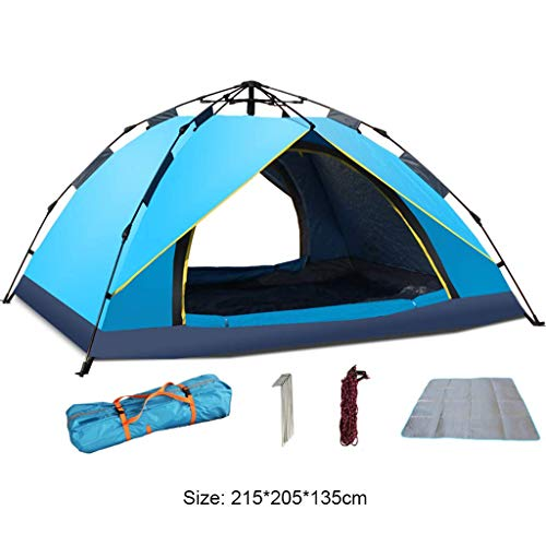BRISEZZ 3-4 Persons Lightweight Tent -Pop Up Camping Tent - Waterproof Windproof - UV Protection Perfect for Beach, Outdoor,Traveling,Hiking,Camping,215 * 205 * 135Cm,1 HRTT (Color : 1)