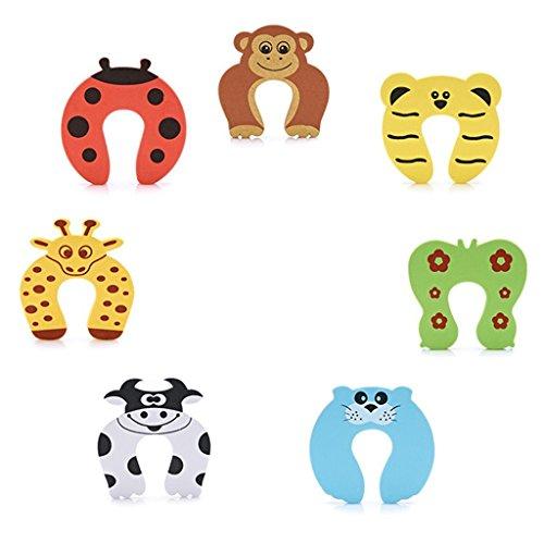 DoGeek Tope Puerta 7 Piezas Protector Puertas Seguridad Bebé Espuma Tapones Diseños de Animales Protector de Puertas Seguridad Puerta Dedos para Bebé