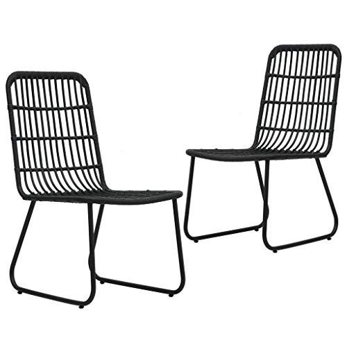 vidaXL 2X Gartenstuhl ohne Armlehnen Rattanstuhl Balkonstuhl Gartenmöbel Rattanmöbel Terrassenstuhl Stuhl Stühle Gartenstühle Poly Rattan Schwarz