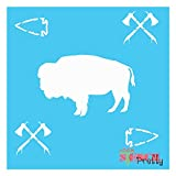 Tribal Decor Stencil - Native American Indian Bison Buffalo Arrowhead-Multipack (S, M, L)| Brilliant Blue Color Material