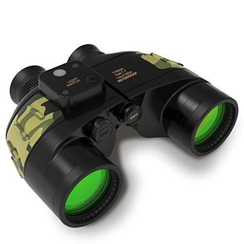 10x50 Marine Binoculars for Adults- IPX7 Waterproof Fogproof BAK4 Prism FMC Lens Binoculars with Rangefinder Compass Strap for Navigation,Boating,Fishing,Water Sports,Hunting and More (Black)
