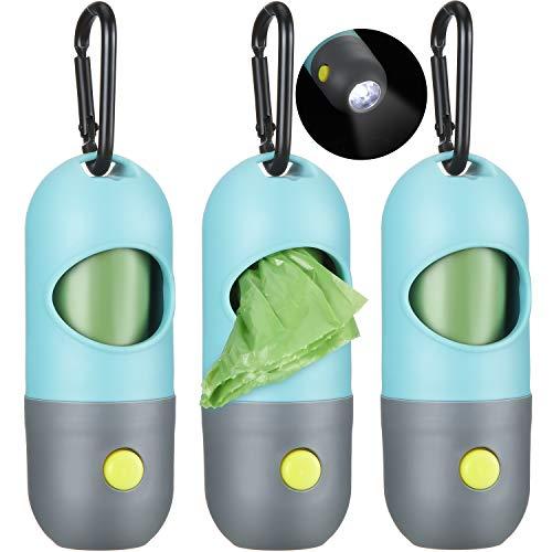 Blulu 3 Set Hunde Kotbeutel Spender Poop Müllsack Halter mit LED Taschenlampe und 3 Rollen Auslaufsichere Hundehaufen Kotbeutel