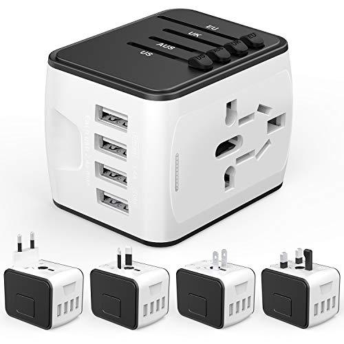Adaptador Enchufe de Viaje HUANUO Universal Enchufe Adaptador Internacional con Dos Puertos USB para Más de 150 Países, 100 – 240 V AC, con Seguridad Integrada, Adaptador de Viaje con 4 USB Carga