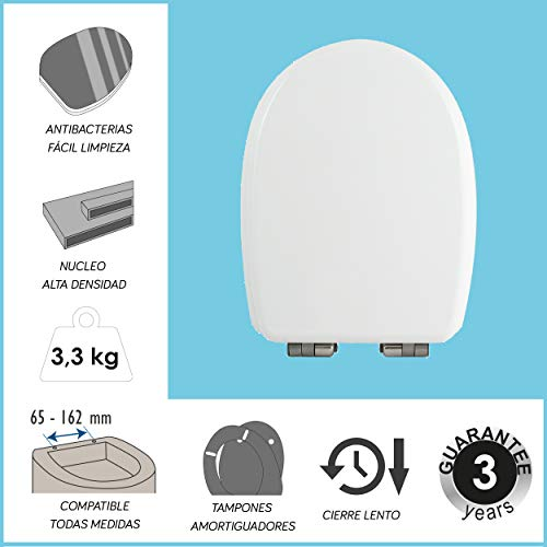 30/x 20/x 15/cm MSV Rimovibile con Duroplast Sedile WC in Acciaio Inossidabile,