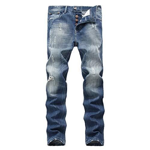 cinnamou Jeans Herren Stretch Jeans Shaping Straight Fit Jeans Ripped Jeans Zerrissene Jeans Loch Jeans Zip Jeans Slim New Buntfalten Hosen Pash Jeans Lange Mode