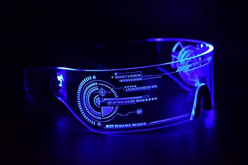 ASVP Shop Cyberpunk LED-Tron-Visierbrille – perfekt für Cosplay und Festivals – Cybergoth – Cyberpunk-Brille
