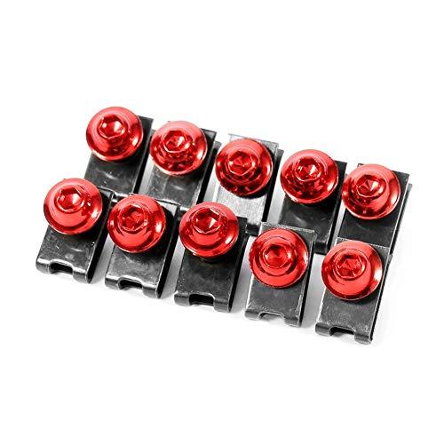 10pcs kit bullone corpo carenatura moto, dado Keenso M5 ghiera vite ghiera velocità fissaggio clip(Rosso)