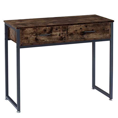 BOTONE Konsolentisch, Schreibtisch mit 2 Schubladen, Flurtisch, Beistelltisch mit Metallgestell, Sideboard rustikal, Vintage, Industrie-Design, Füße verstellbar (100x40x83cm)