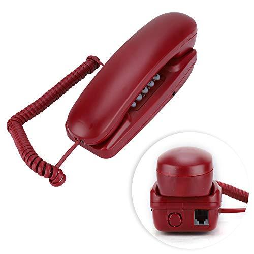 Bewinner Teléfono Fijo con Cable sin Pantalla de Identificación del Llamante,Teléfono de Escritorio para Casa, Compatible con la Función de Flash/Silenciar/Volver a Marcar(Rojo)