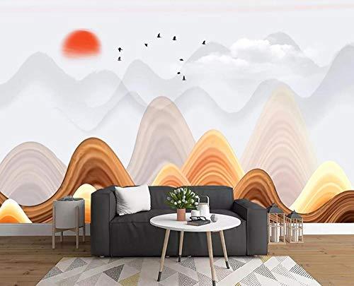 Fotomurales 3D Papel Pintado Pared Paisaje Ondulado Del Amanecer Del Pico De La Montaña Papel Pintado Fotográfico Mural Salón Dormitorio Decoración de Paredes Wallpaper 300cmx210cm