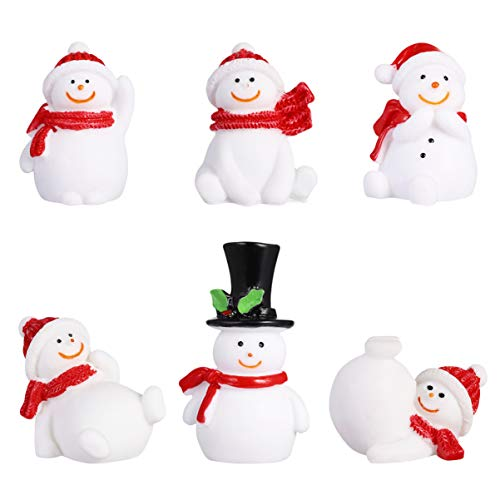 Amosfun 13Pcs Christmas Snowmen Desktop Ornaments Snow Figurines Adornment Gifts DIY Crafts Xmas Decor for Home Office (Random Style)