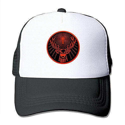 Huseki Jagermeister Logo Classic Mesh Back Trucker Cap Hat For Unisex Black