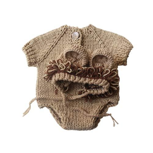 NUOBESTY Conjunto de Accesorios de Fotografía para Bebés Recién Nacidos Pantalones de Gorro de Punto de Ganchillo Conjunto de Disfraces de León Bebé para Sesión Fotográfica (0-3 Meses)