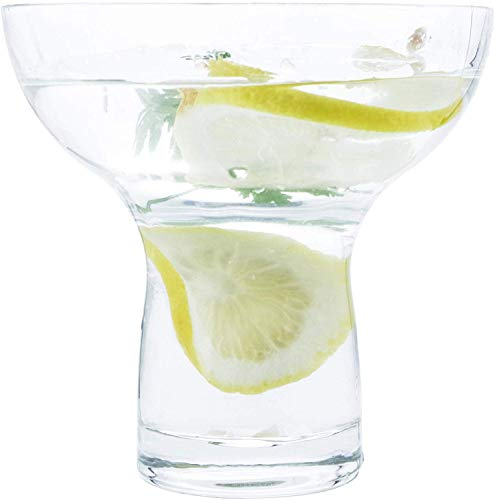 Margarita Glasses Stemless XL Large Thick Solid Clear Glass, 16 Ounces (6)