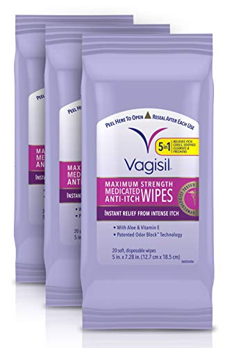 Vagisil Anti-Itch Medicated Feminine Vaginal Wipes, Maximum Strength, Instant Relief, Pack of 3 - 60...