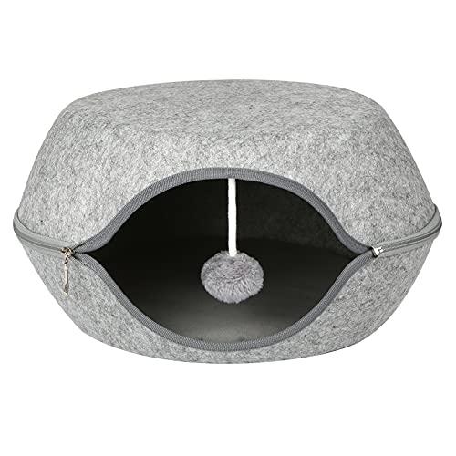 Topuality Cama para Gatos Cama Tipo Cueva para Gatos Material de Fieltro con cojín extraíble para Gatos y Gatitos Peso Inferior a 7,5 kg