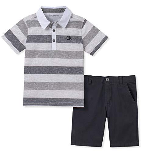 Calvin Klein Baby Boys 2 Pieces Polo Shorts Set, Charcoal, 3-6-Months