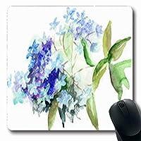 長方形の快適滑り止めマウスパッド丈夫な花アジサイ青い花水彩自然長方形7.9 X 9.5インチ滑り止めラバー快適滑り止めマウスパッド丈夫なゲーミング快適滑り止めマウスパッド丈夫な