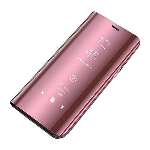 Ubeshine Galaxy A20 A30 Hülle, Galaxy A8s A9 2019 Handyhülle Spiegel Schutzhülle Flip Tasche Leder Hülle Cover Stand Feature Bumper Etui Flip Tasche für Samsung Galaxy A20/A30/A8s/A9 2019 (Rose Gold)