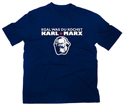 Preisvergleich Produktbild Egal was du kochst Karl Marx Fun T-Shirt,  XL,  Navy