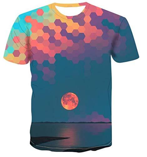 T-Shirts 3D Zonsondergang Landschap Schilderen Realistische Unisex Korte mouw Top Elegant Klassiek Shirt