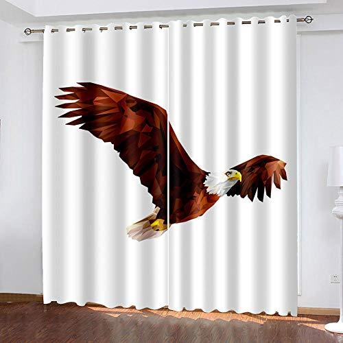 DRFQSK Cortinas Opacas 3D 2 Piezas 117 X 230 Cm(An X Al) Salón Dormitorio Decoración De La Ventana Cortinas Termicas Aislantes Frio Y Calor con Ojales Águila Animal Cortinas Infantil