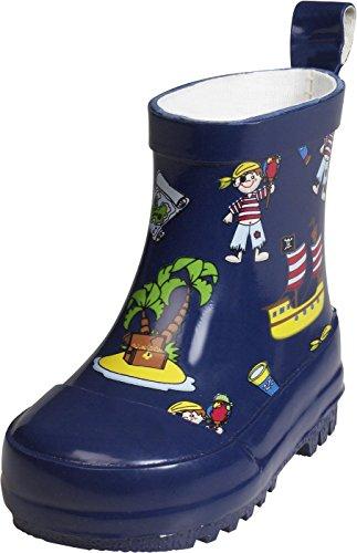 Playshoes Kinder Baby Turnschuhe Halbschaft-Gummistiefel aus Naturkautschuk, trendige Unisex Regenstiefel mit Reflektoren, mit Piraten-Muster, Blau (Marine), 27 EU