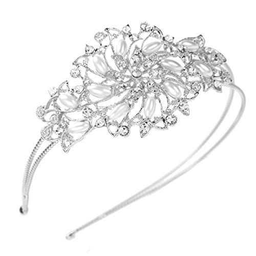 FUMUD かわいいラインストーンパール花カチューシャフラワー髪飾り結婚式パーティー(シルバー)