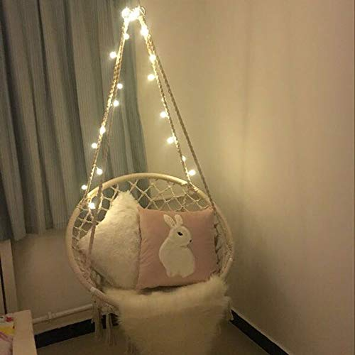Sonyabecca LED Hanging Chair Light Up Macrame Hammock Chair with 39FT LED Light for Indoor/Outdoor...