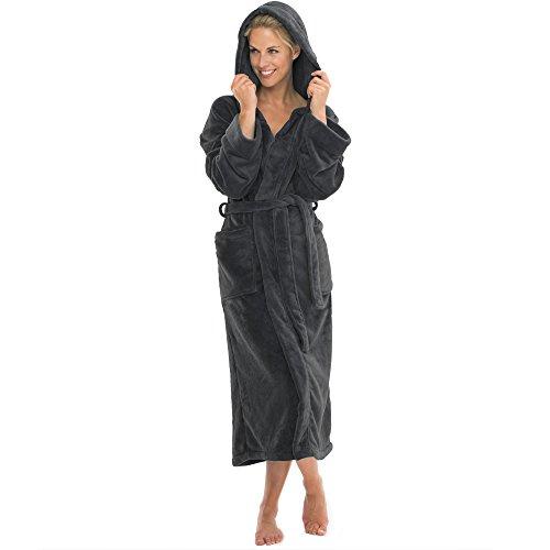 aqua-textil Bademantel mit Kapuze Damen Herren Morgenmantel weich und super flauschig, Coral Fleece Saunamantel lang, 0010827 Malibu L anthrazit