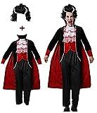 Gojoy Shop- Disfraz y Peluca de Vampiro para Hombres Carnaval Halloween (Contiene Peluca, Chaleco con Chaqueta Pantal, Pantalón, Cuello y Capa, Talla Unica)
