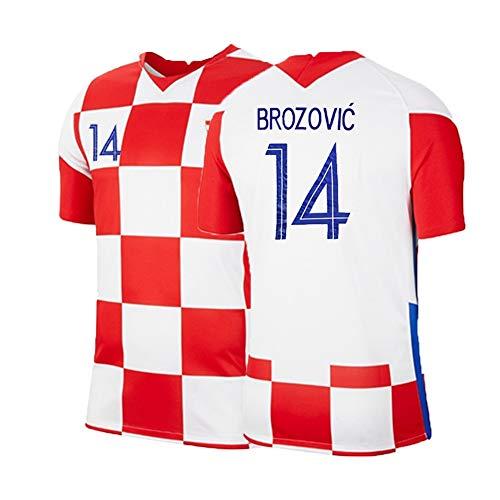 XH Herren Fußball Trikot Set, Marcelo Brozović # 14 Trainingskleidung T-Shirt, Erwachsenengröße, S-2XL (Color : Red+White, Size : M)
