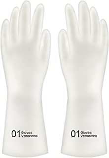 mewmewcat Luvas domésticas de 1 par para lavagem de louça Luvas de borracha resistentes ao calor Antiderrapante para limpe...