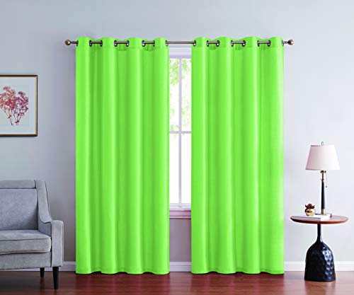 2pc Faux Silk Solid Curtain Panel Window Treatment Living Room Curtains for Any Room in Bedroom Grommet Hemmed 52 Inches Wide Semi Sheer( Lime Green,52 X 84 Inches )