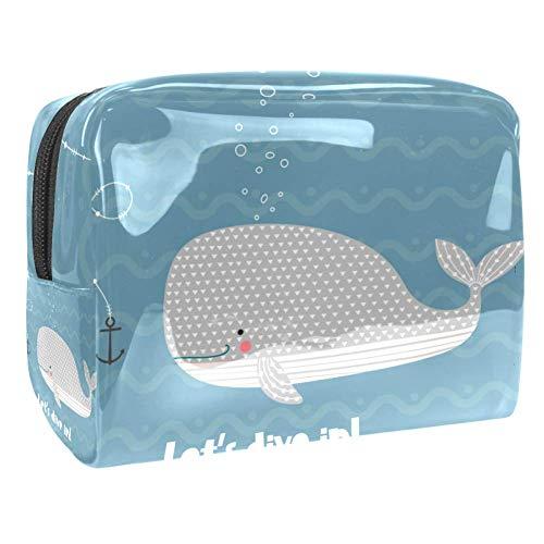 Trousse de Maquillage Anchor Whale Sea Grand Sac Cosmétique, Étanche Trousse de Toilette pour Femme, Sac de Rangement de Voyage 18.5x7.5x13cm