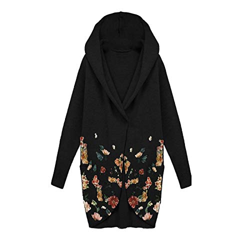 Dicomi Women Fashion Warm Hoodie Tops Floral Print Cloth Cardigan Jacket Coat Long Outerwear Black