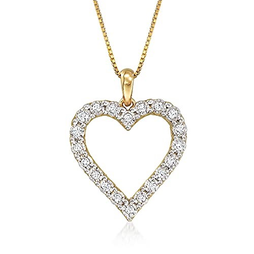 Ross-Simons 0.30 ct. t.w. Diamond Heart Pendant Necklace in 18kt Gold Over Sterling. 16 inches