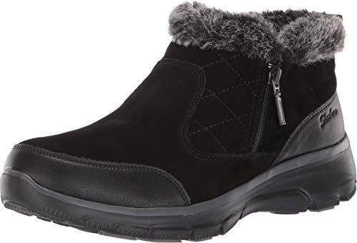Skechers Women's Easy Going-Girl Crush-Quarter Zip Quilted Bootie Ankle Boot, Black, 7.5 M US