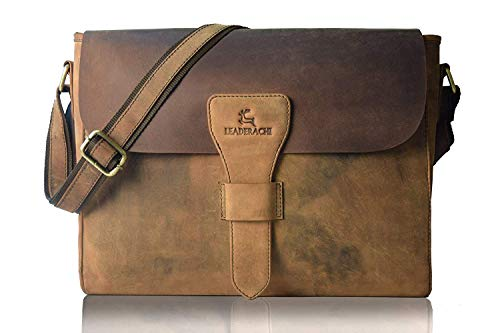 Leaderachi Hunter Leather Laptop Crossbody Messenger 16.5' Bag Office Bag Travel Bag