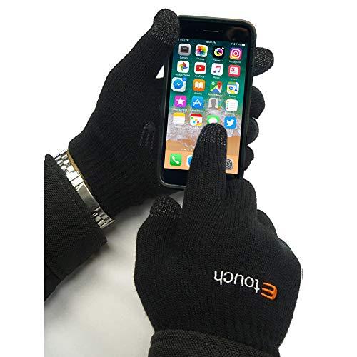 Guantes de pantalla táctil - para iPhone, iPad, Blackberry, Kindle, Samsung, HTC y otros teléfonos inteligentes, PDA y navegadores por satélite, Negro - unisex de las señoras del Mens del invierno de la pantalla táctil mágico Guantes Ipad Iphone HTC Smart Phone (M-L)