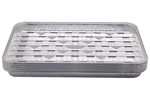 Unifit 10 Pack Disposable Aluminum Foil Grill Pans - 13.4 x 9 x 1.1 Inch Food Trays, Aluminum Sheet Drip Topper Liners for Outdoor Cooking, Oven, Baking, Heating, BBQ