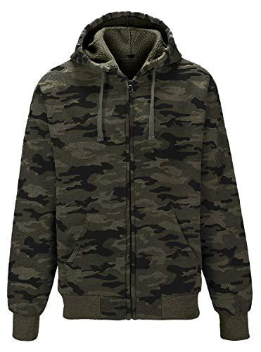 GEEK LIGHTING Camouflage Coats Fleece Hoodie Casual Zip Up Jacket for Men(Army Green, Medium)