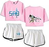 YUNZHONG Sword Art Online Cosplay T Shirt Camisetas Camisa Pantalones Cortos Chicas Running Suit Camiseta Deportes Shorts Traje-XXL