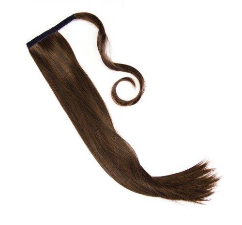 Haarteil in schwarz-braun Zopf Pferdeschwanz glatt 60 cm zum anklipsen Haarverlängerung Pony